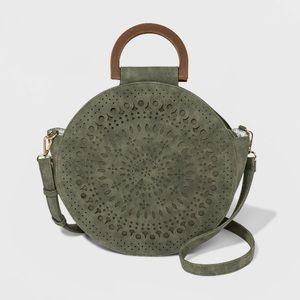 VR NYC Laser Cut Circle Handle Tote Handbag Moss